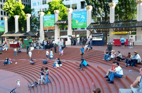 Steps in Pioneer Courthouse Square in Portland, OregonSource: http://www.portlandground.com/archives/2005/07/pioneer_square_1.php