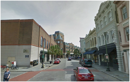 King Street, looking south. Charleston Place on the left doesn't offer the architectural diversity that the buildings on the right do.Photo From: Google Street View