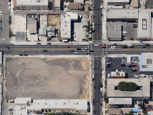 Vacant lot at Anaheim St. and Walnut Ave., owned by the City of Long Beach.  Google Maps.