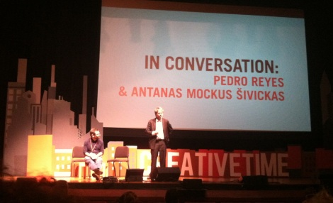"""Antanas Mockus, former mayor of Bogotá, and artist Pedro Reyes discuss """"absurdity"""" and playfulness in the context of policy."""