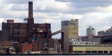 Brooklyn's defunct Domino Sugar Factory, a symbol of private redevelopment and the venue for Creative Time's 2013 fundraising gala.